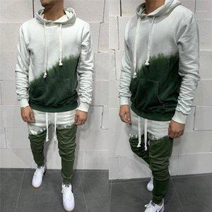 Sports Camisola encapuçado Sets Designer Masculino soltas Casual calças compridas Fatos Homem Gradiente manga comprida Define Fashion Trend Two Pieces