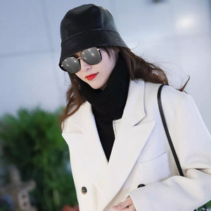 Elegant Fashion Women Caps Genuine Leather Hat Sheepskin Leather Bucket Hats Novelty Women's Trendy Brands Real Cap
