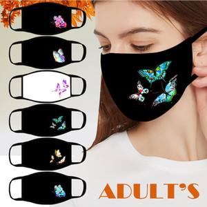 masque papillon en tissu de coton noir Cartoon motif papillon 3D masque masque cycliste anti-poussière sport extérieur impression Masques Designer T9I00594