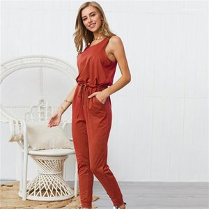 Famale Повседневный Rompers женщин Designer Summer с коротким рукавом Strappy Комбинезон сплошной цвет моды Crew Neck