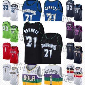 Kevin Garnett 21 Jersey Sion 1 Lonzo Williamson sfera maglie MinnesotaTimberwolvesJersey New OrleansPellicanimaglie
