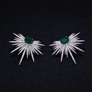 GODKI chaud tout neuf mode populaire cristal de luxe Zircon Boucles d'oreilles Forme Spark Bijoux Fleur Boucles d'oreilles de mode pour les femmes