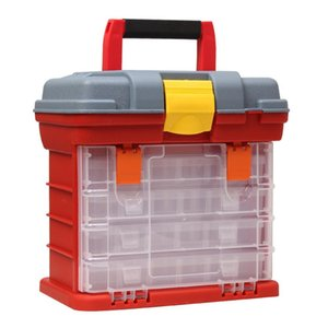 Portable Tool Screw Hardware Box Locking 4 Plastic Storage Box Outdoor Handle Toolbox Tool With Case Tackle Fishing Layer kjRPS bdebaby
