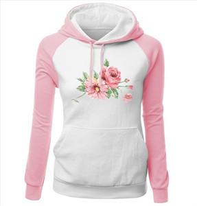 Autumn Winter Womens Sportswear Harajuku Pink Kawaii Flower Print Sweatshirt For Female Brand Kpop Clothing Cute Tracksuit