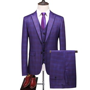 fashion plaid modern mens wedding suits 2020 spring new 3 pieces  men wedding suit male blazers slim fit suit LJ200923