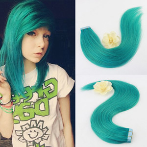 Full Hair 50Gram 20 Pcs Per Package Colorful oF Teal Remy Tape in Extensions Human Hair Fashion designer