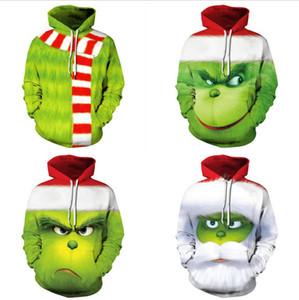 Mode Männer Frauen 3D Green Monster Grinch Maskottchen Hoodie Grinch Sweatshirt beiläufige lange Hülsen-Weihnachten Pullover lose Oberseiten-Größe S-5XL