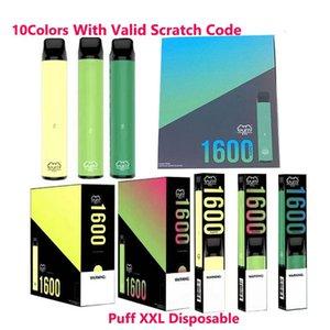 Puff XXL 1600puffs Одноразовое с Действительными Царапинами Кода Vape Pen устройства Starter Kits Пустых одноразовых устройства Комплекты Puff Bar Flow Xtra Plus