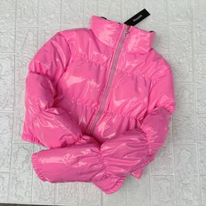 AtxYxta recortada chaqueta de globo abrigo de burbuja invierno parka mujeres nueva moda ropa negro rojo rosa T200908