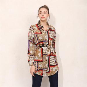 Кардиган Женщины Блуза лето Сыпучих кнопки Printed отворот шея рубашка с длинным рукавом женской партия Улица Одежда Bowknot