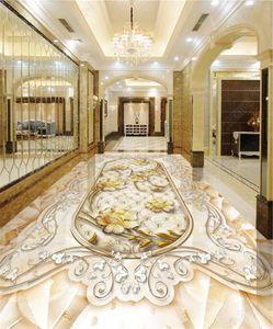 3D Floor Mural Finest Art Marbled Gold 3D Floor Wallpaper Beautiful Interior Decoration