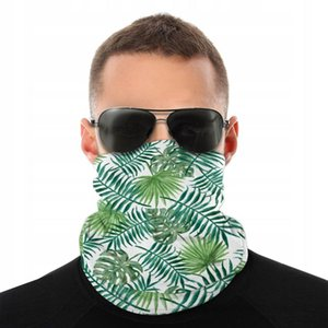 Tropical Green Palm Leaves Scarf Half Face Mask Men Women Tube Scarf Tubular Bandana Multi-functional Headwear Biking Hiking