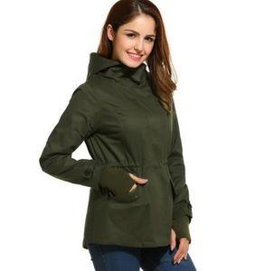 Frauen-beiläufige Jacken Mäntel Langarm-Zip Up Tunnelzug Kapuze Militärjacke weiblich Outwear
