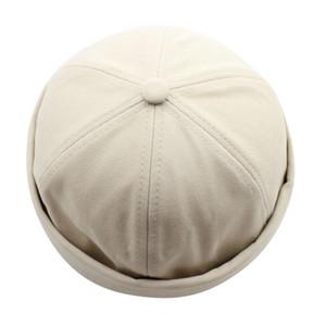 Uomini Donne Hat Cap Casual Docker Sailor Meccanico brimless Solido Colore
