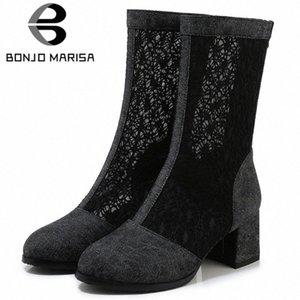 BONJOMARISA New 33 43 Ladies Fashion Street Denim Summer Boots Elegant Mid Calf Mesh Boots Women 2020 High Heels Shoes Woman Pew2#