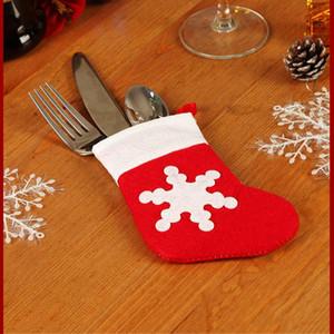 Noel çorap Çatal Kapak Noel Yılbaşı Pocket Çatal Bıçak Çatal Tutucu Çanta Ev Partisi Noel Masa Yemeği Dekorasyon bulaşığı