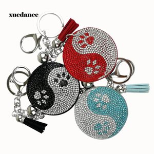 Exclusive new model creative Eight trigrams of Yin and Yang keychain with filled rhinestone fashion bag pendant