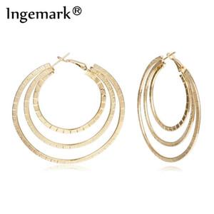 Ingemark 최신 유행 패션 대형 후프 귀걸이 큰 여성 쥬얼리에 대한 원형 볼 Brincos의 간단한 파티 라운드 루프 귀걸이 부드러운