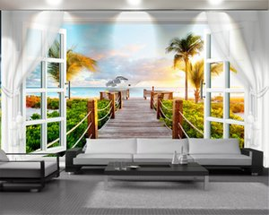 3d Modern Wallpaper Romantic Landscape 3d Wallpaper White Windows and Beautiful Scenery Romantic Scenery Decorative Silk 3d Mural Wallpaper