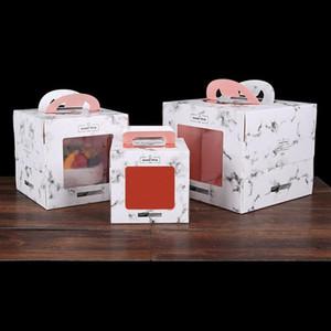 투명 창 4/6/8/10 인치 대리석 디자인 종이 핸들 케이크 상자, 창 열기 상자 무스 케이크 패키지 LX3226 베이킹
