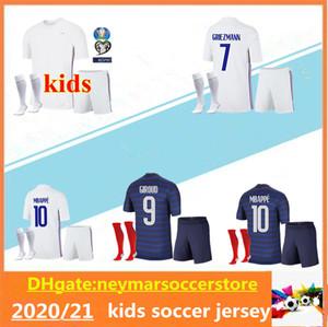 2020 프랑스 어린이 Chandal 타이츠 드 발 프란시아의 앙팡 셔츠 키트 (20 개) (21) KANTE MBAPPE POGBA 프랑스 축구 유니폼 세트