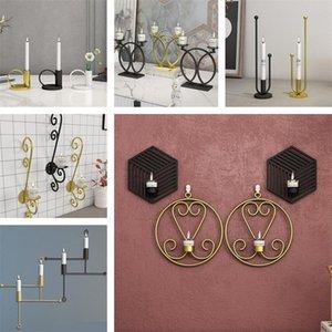 현대 철 아트 캔들 홀더 3D 벽 티 라이트 홈 인테리어 테이블 촛대 교수형 캔들 홀더 금속 빈티지 탑재