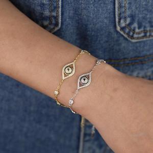 Micro Pave CZ Lucky Evil Eye Charm Link Kette Armband Böhmen Boho Mode Chic Frauen Armreif