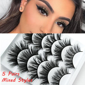 5Pairs Handmade Multi-styles Criss-cross False Eyelashes Wispy Flared Natural Long Eye Lash Extension Eye Cosmetics Makeup Tools