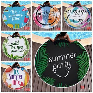 Round Beach Towel Tassel Beach Towel Bed Cover Yoga Mat Polyester Table Cloth 3D Printed Outdoor Camping Picnic Towels Rug BH3323 DBC