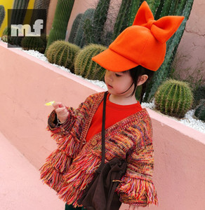 Girls V-neck Knitting Tassel Cardigan Sweater 2020 New Children Orange Single-breasted Outwear Kids Autumn Winter Clothing A4281