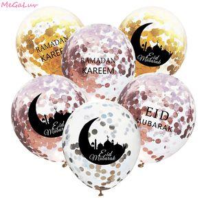 10pcs de 12 polegadas Supplies Lua Carta Eid Mubarak Decor Glitter Confetti Balão Ramadan Eid Latex Balões da festa muçulmana Para