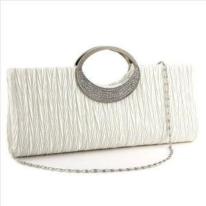 Designer-Evening Bags Hot Fashion Womans evening bag elegant diamond satin handbag new white with