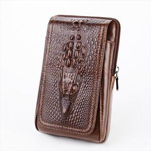 High Quality Men Genuine Leather Waist Pack Cell Mobile Phone Case Purse Bum Crocodile Grain Style Cigarette Belt Hip Fanny Bag
