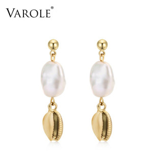VAROLE Shell de la perla natural cuelga los pendientes de oro Pendientes color Contratado gota pendientes para las mujeres joyería Brincos