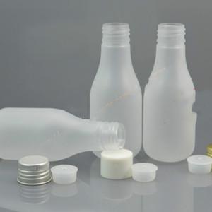 100ml borrar en forma de PET de aluminio botella + PP blanco tapa / plata / oro lid.oil / líquido / humectante / recipiente de agua facial pera esmerilado