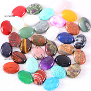 5Pcs Natural Stone Cabochon CAB Real Pink Crystal Lapis Opal Onyx No Drilled Hole Oval Beads Cabochon for Women Jewelry Making