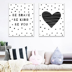 Black White Heart Nursery Quote Canvas Poster Print Minimalist Wall Art Painting Nordic Kids Decoration Pictures Baby Room Decor
