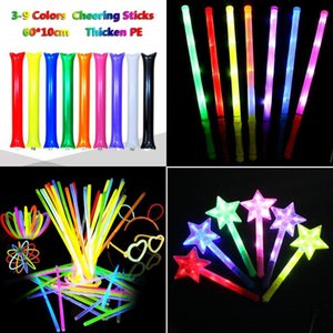 2022 Multi Colorful LED Flashing Night Light Lamp Glow Wand Sticks + Strap Birthday Christmas Party Festival Concert Glow Stick