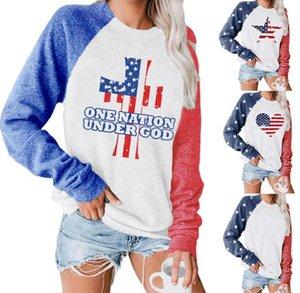 Women Hoodies America Flag softball Jumper Outerwear Lady Loose Round Neck Long Sleeve Sweatshirts Pullover Hoodie Casual Apparel GWD1854