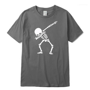 O Neck Summer Mens Tee Shirts O Neck Tshirt Men Cotton Blend High Quality Mens hort Sleeve Dabbing Print Skull Mens T Shirt Casual