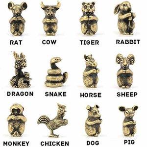 Mini Boyut Pirinç Bronz Bakır Çin 12 Zodyak Hayvanlar Figürinleri Tütsü Çubuk Tutucu Büro Masası Dekoratif