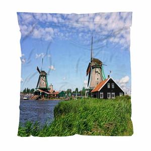 Inizio Coperta Moda lettera stampata Coperte The Famous Zaanse Schans mulini a Zaandam sul divano / sedia / Love Seat / Car Camping Blanket