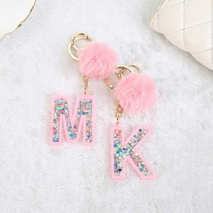 1PC Women Keychains 26 Glitter Hollowed-out Words Handbag English Letter Keyring with Puffer Ball Charms