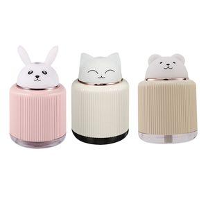 Mini Air Diffuser Cut Pet Humidifier Portable Aroma Essential Oil Diffuser 300ML Car Air Freshener Fogger with Warm Night Lights