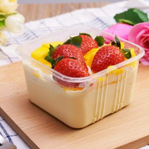 Transparent Empty Square Mousse Cake Box for Wedding Party Clear Plastic Cupcake Yoghourt Pudding Boxes with Cover GWC2464