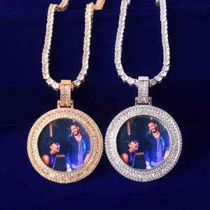 Gioielli rock Hip hop Micro collana Solid Torna Baguette rotonda Memoria Picture Foto Pendant tennis maschile Charm Pave