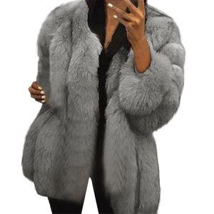 Kış Sıcak Sahte Kürk Moda Artı boyutu Kadınlar Lüks Yumuşak Kürk Ceket Coat Zarif Kalın Kabanlar Peluş Oyuncak