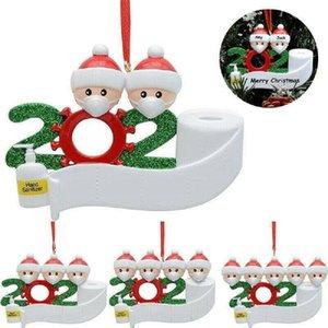 Enfeites de natal 2020 Decorações do Natal Quarentena personalizado sobreviveu Família de 2 Ornamento com máscaras e higienizado Mão