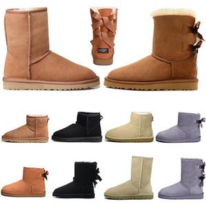 Ugg Botas diseñador para botines de señoras para mujer suave piel del invierno de la nieve Botas Triple Negro clásico castaño de color azul marino australiano de moda de lujo