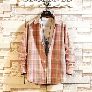Männer neue Art und Weise Flanell Plaid Shirt Slim Fit-beiläufige lange Hülsen-Schleifen Shirt Mann Harajuku Street Shirts Plus Size Tops